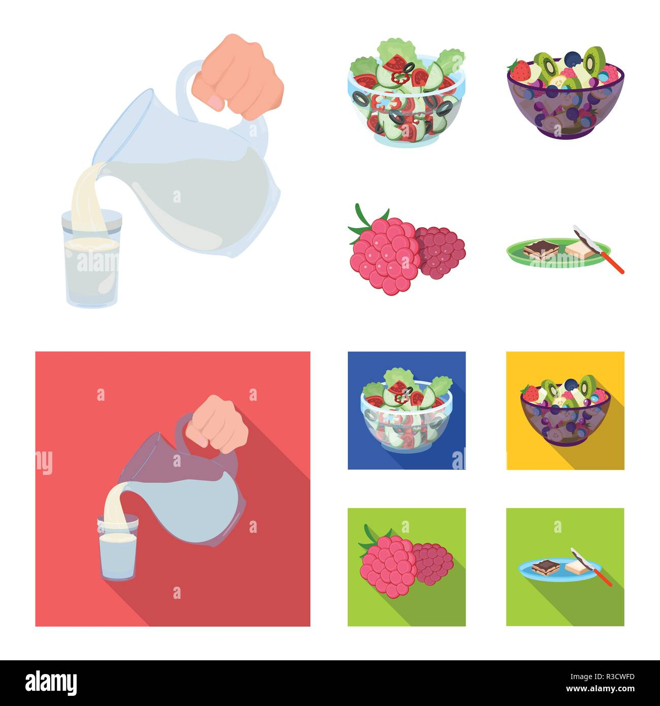 Fruit, vegetable salad and other types of food. Food set collection icons in cartoon,flat style vector symbol stock illustration . - Stock Vector