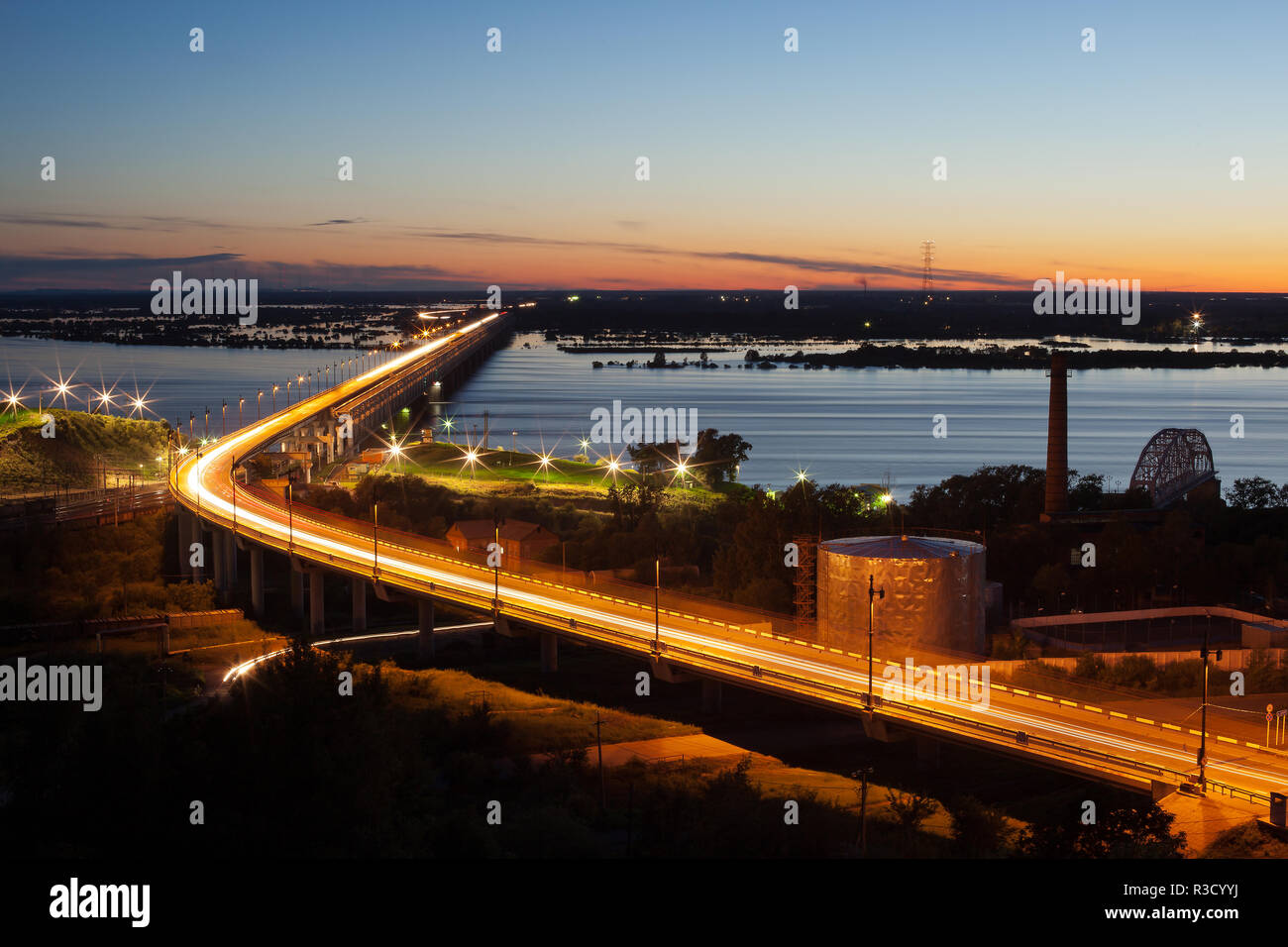 Bridge over the river in Khabarovsk - Stock Image