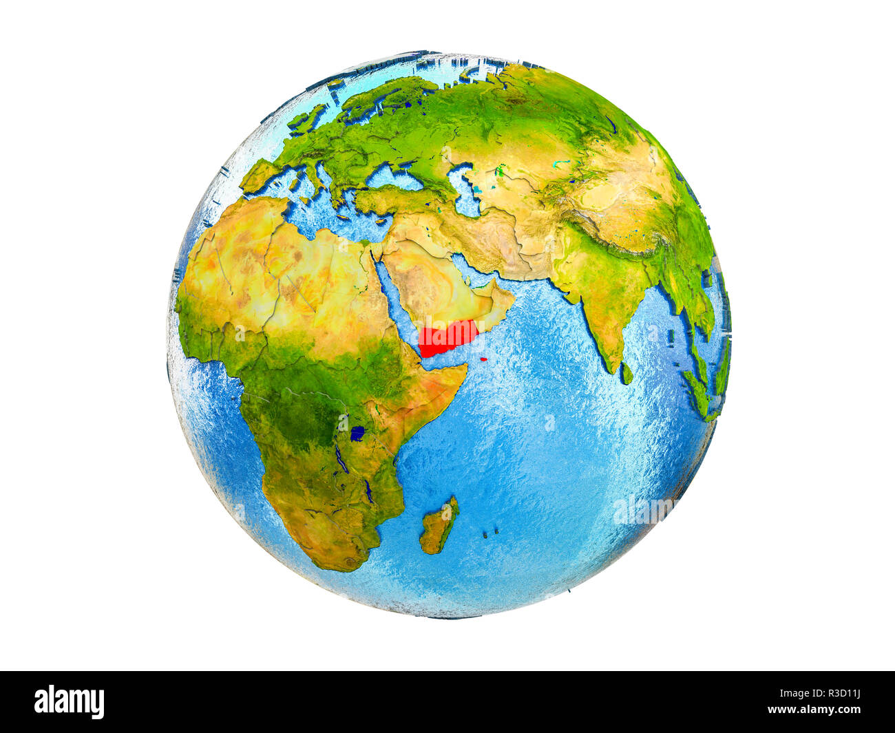Yemen on 3D model of Earth with country borders and water in oceans. 3D illustration isolated on white background. - Stock Image