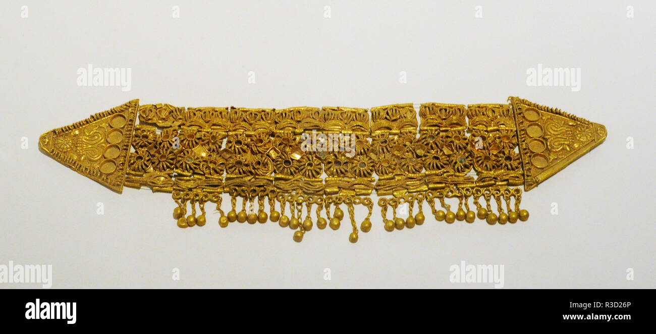 Treasure of Aliseda. Tartessian grave goods. Gold Diadem. Orientalizing Period. 700-501 BC. Found in Aliseda, province of Caceres, Extremadura, Spain. National Archaeological Museum. Madrid. Spain. - Stock Image