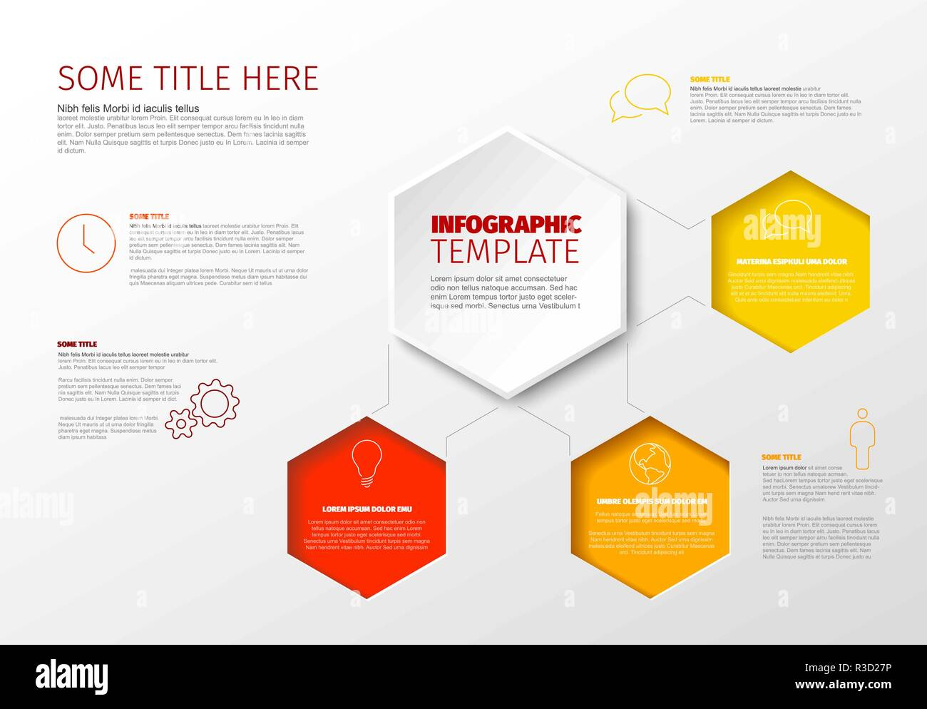 Vector Minimalist Infographic Report Template With Hexagons
