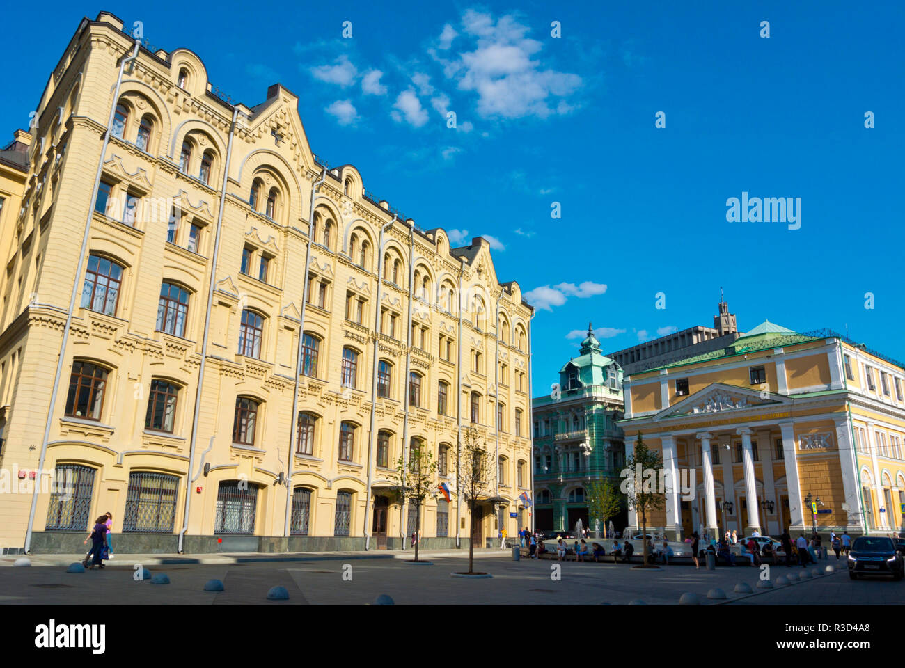 Ministry of Finance and Chamber of Commerce buildings, Birzhevaya Ploshchad, Kitay Gorod, central Moscow, Russia - Stock Image