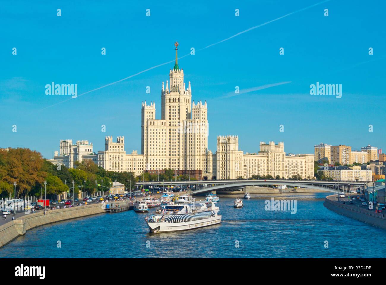 Moskva River, at Zaryadye Park, with Kotelnicheskaya Embankment Building, Moscow, Russia Stock Photo