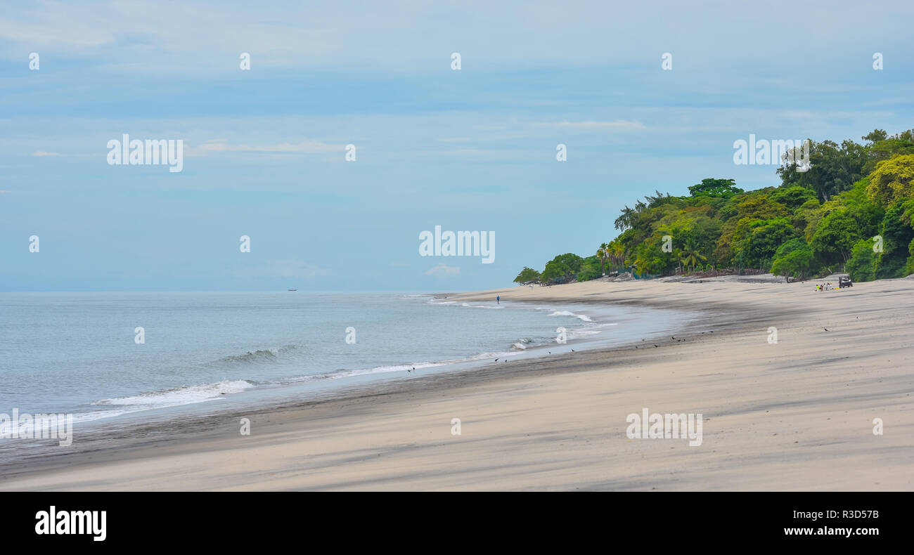 Distant people & birds on a beach in Panama at low tide.  People sit around a portable table while two others walk in sand. - Stock Image