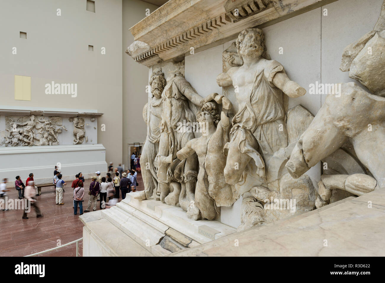 Berlin. Germany. Pergamon Museum. Pergamon Altar. Gigantomachy frieze, west panel.  Built during the reign of king Eumenes II in the first half of the - Stock Image