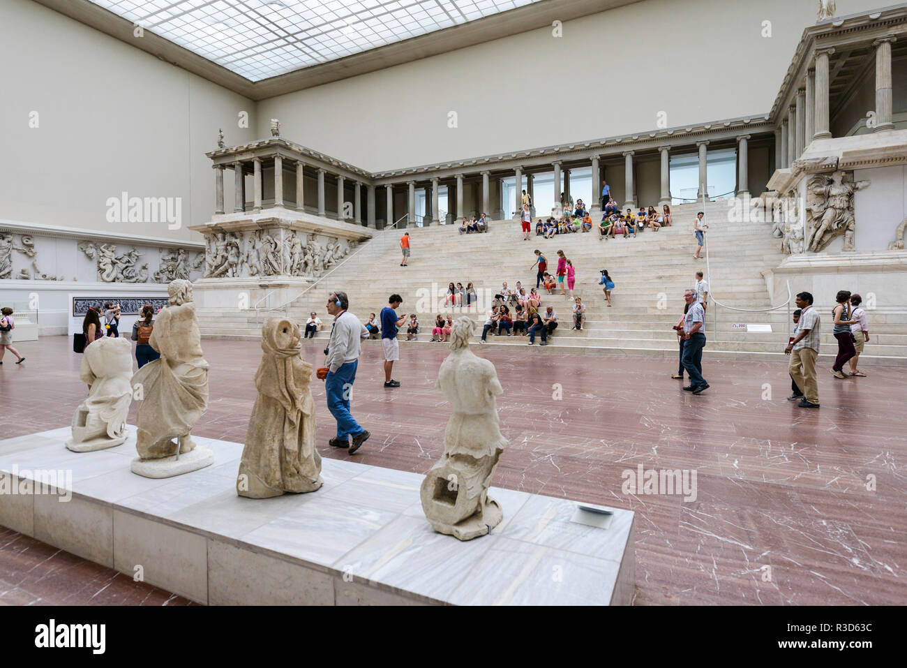 Berlin. Germany. Pergamon Museum. Reconstruction of the Great Altar of Pergamon aka Pergamon Altar.  Built during the reign of king Eumenes II in the  - Stock Image