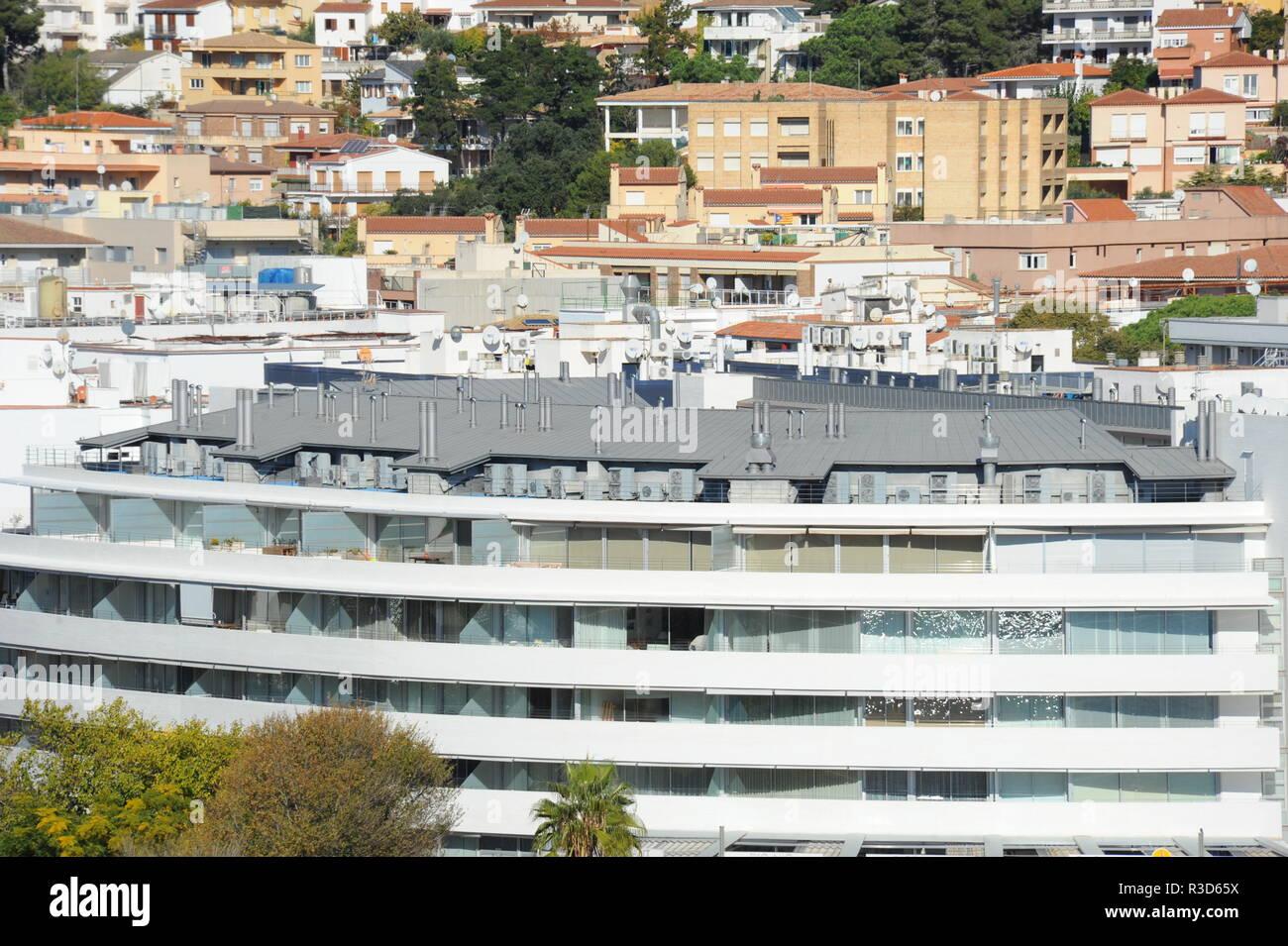 facades in tossa de mar - costa brava - spain - Stock Image