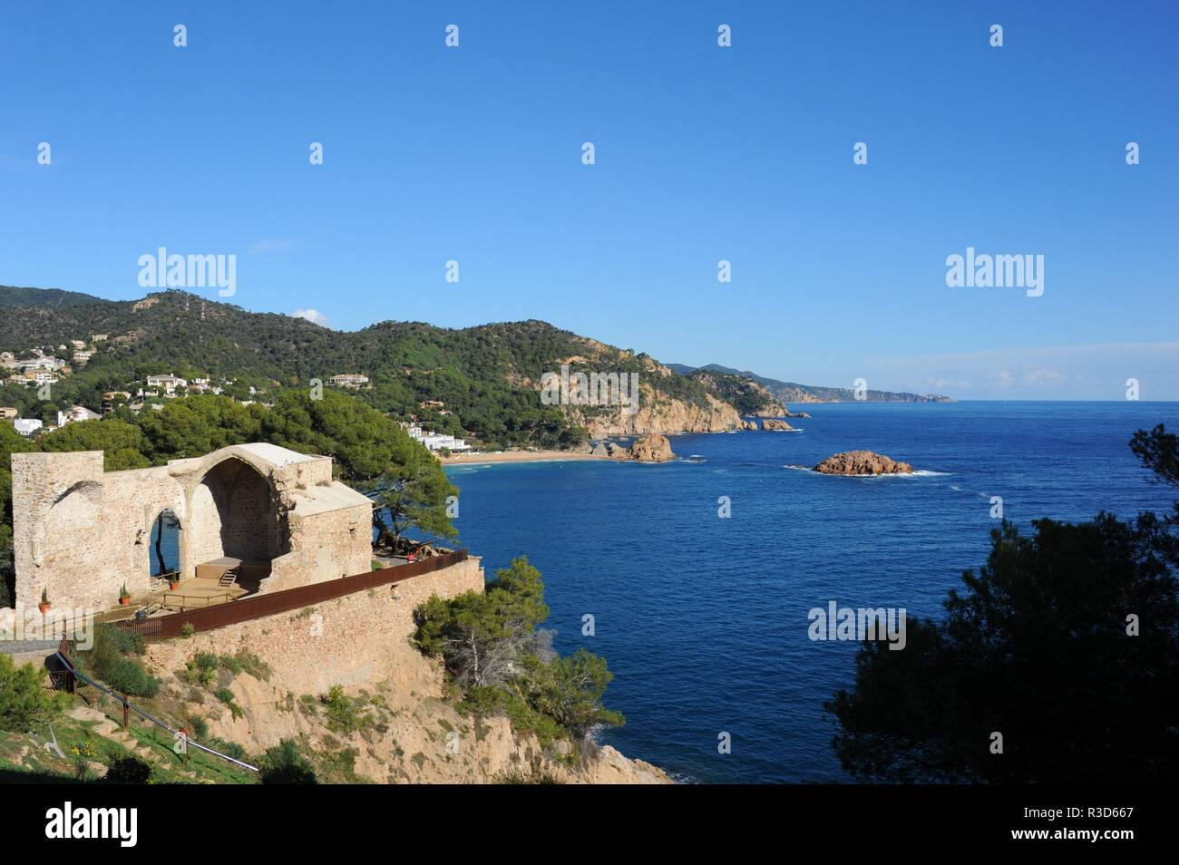 tossa de mar,costa brava,spain castle - fassaden - Stock Image