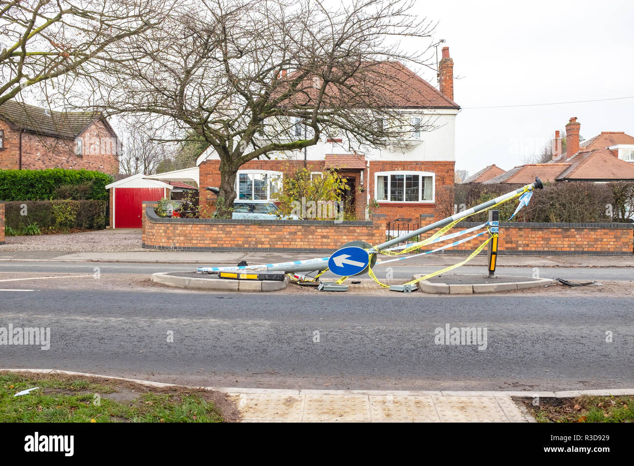 Road accident collision between car and lamppost in Sandbach Cheshire UK - Stock Image