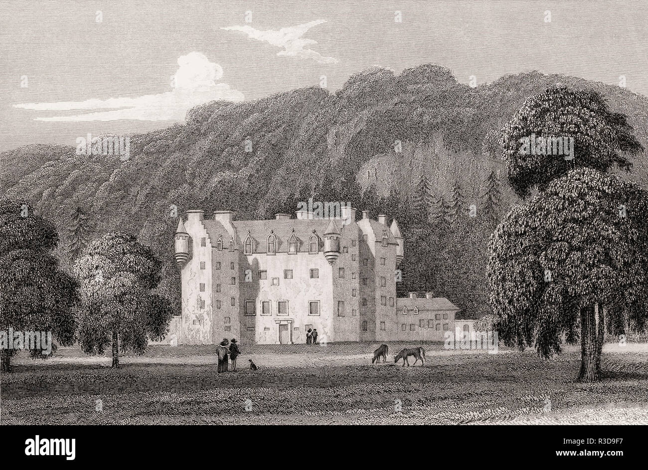 Castle Menzies, Weem, Perthshire, 19th century, from Modern Athens by Th. H. Shepherd - Stock Image