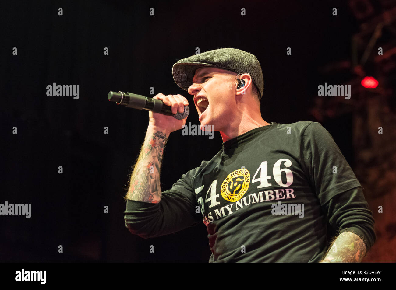 All Barr, lead singer for the Dropkick Murphys, singing for the soundcheck before the 2017 St Patrick's Day show. - Stock Image