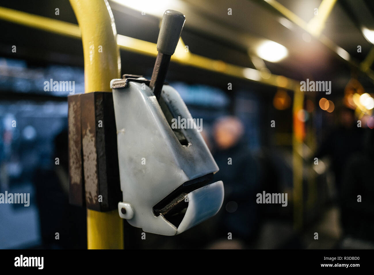 Old bus punch validator close up in Kyiv, Ukraine - Stock Image