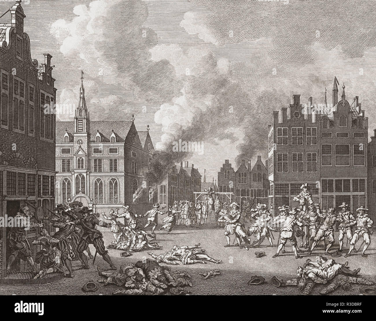 The Bloodbath in Naarden, 1572.  After a 18th century engraving by Noach van der Meer.  The picture represents the Massacre of Naarden, when Spanish soldiers sacked the Dutch town during the Eighty Years War. - Stock Image