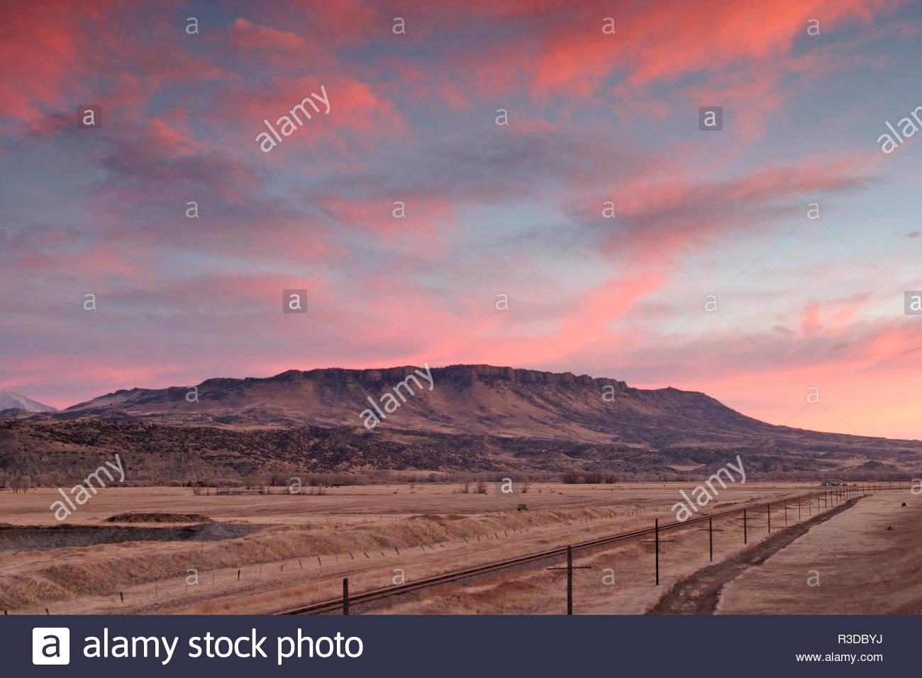 Sheep Mountain at Sunset color, Livingston, Montana, USA - Stock Image