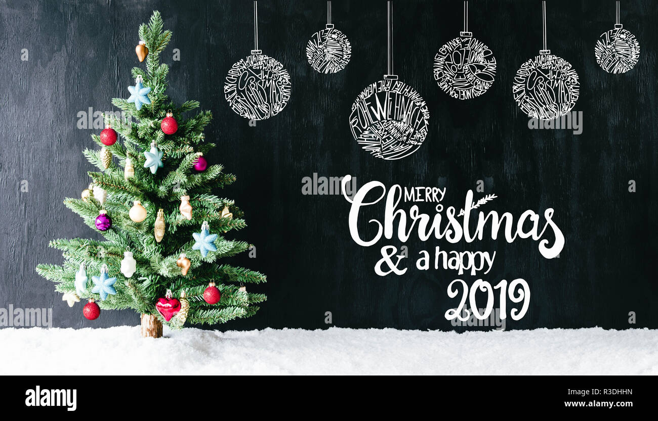 Buon Natale Meaning In English.English Calligraphy Merry Christmas And A Happy 2019 Christmas Tree