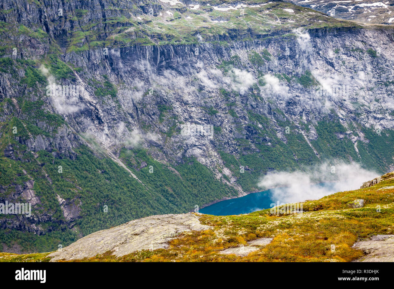 beautiful norwegian landscape with mountains on the the way to trolltunga - Stock Image