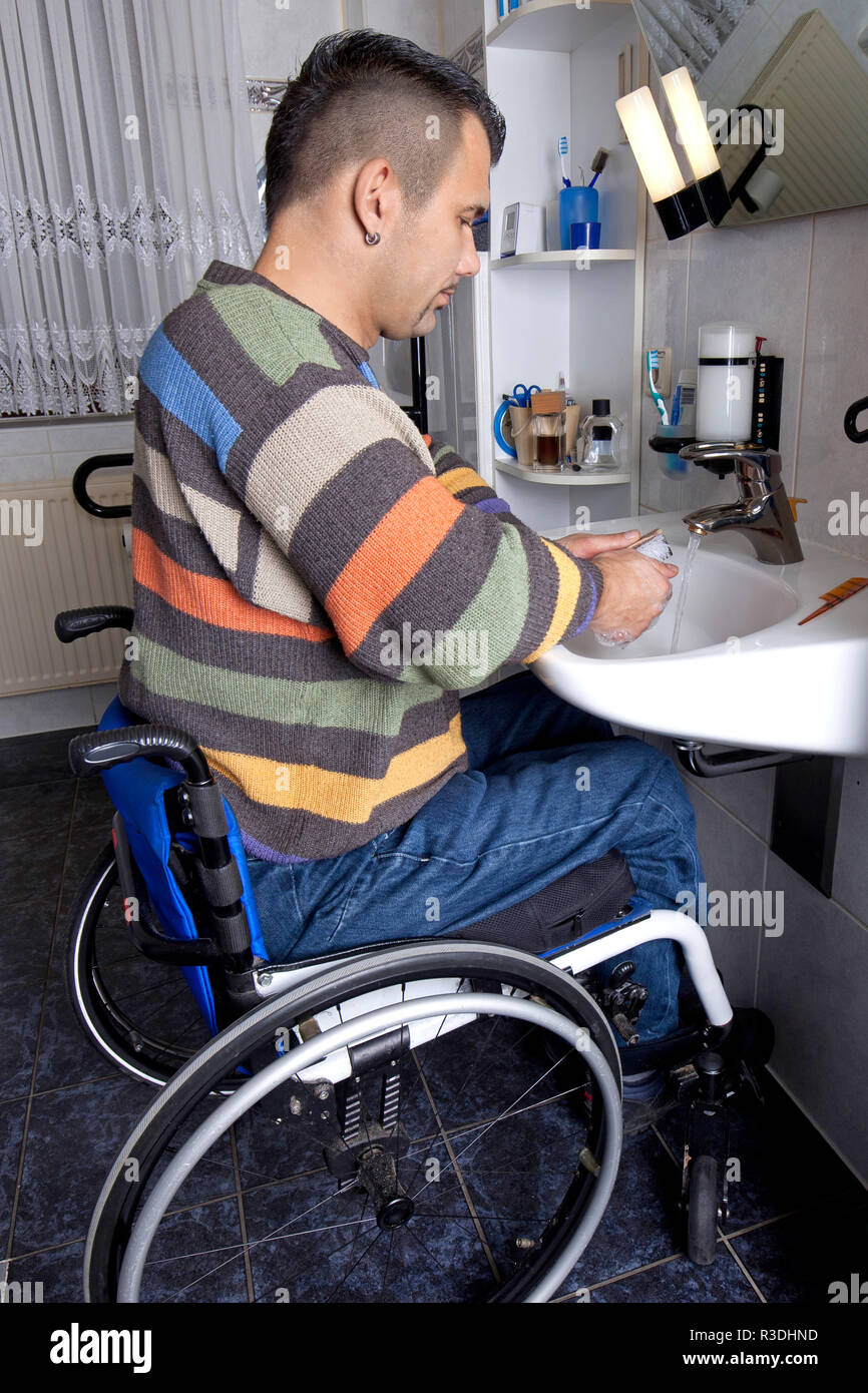wash hands - disability access - Stock Image