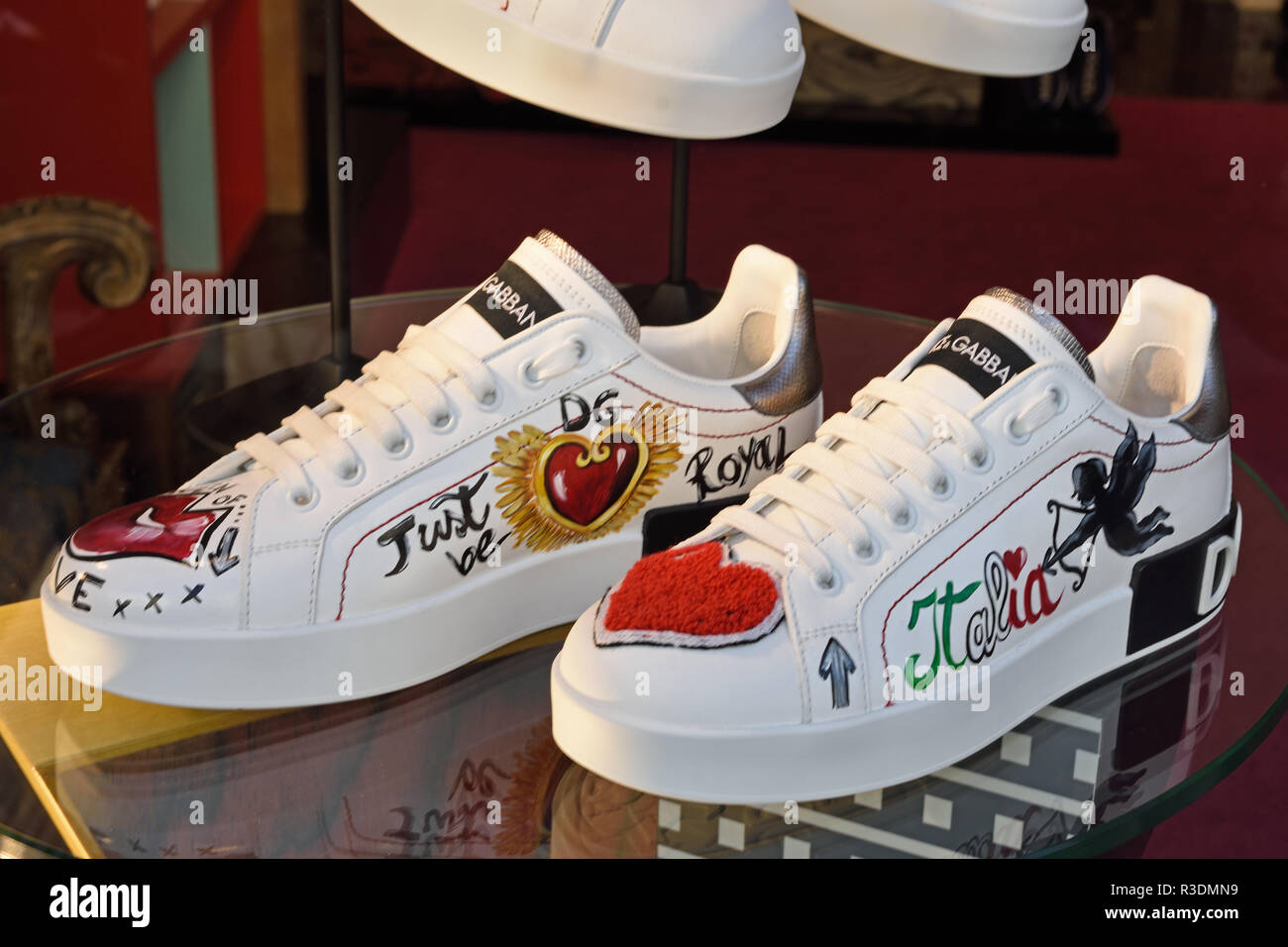 Dolce Gabbana Shoes  Milan Italy Italian Fashion window display, Milano fashion district, Italy Italian - Stock Image