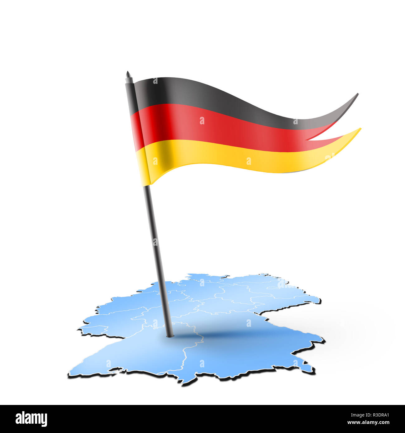 Germany map and flag on white - Stock Image