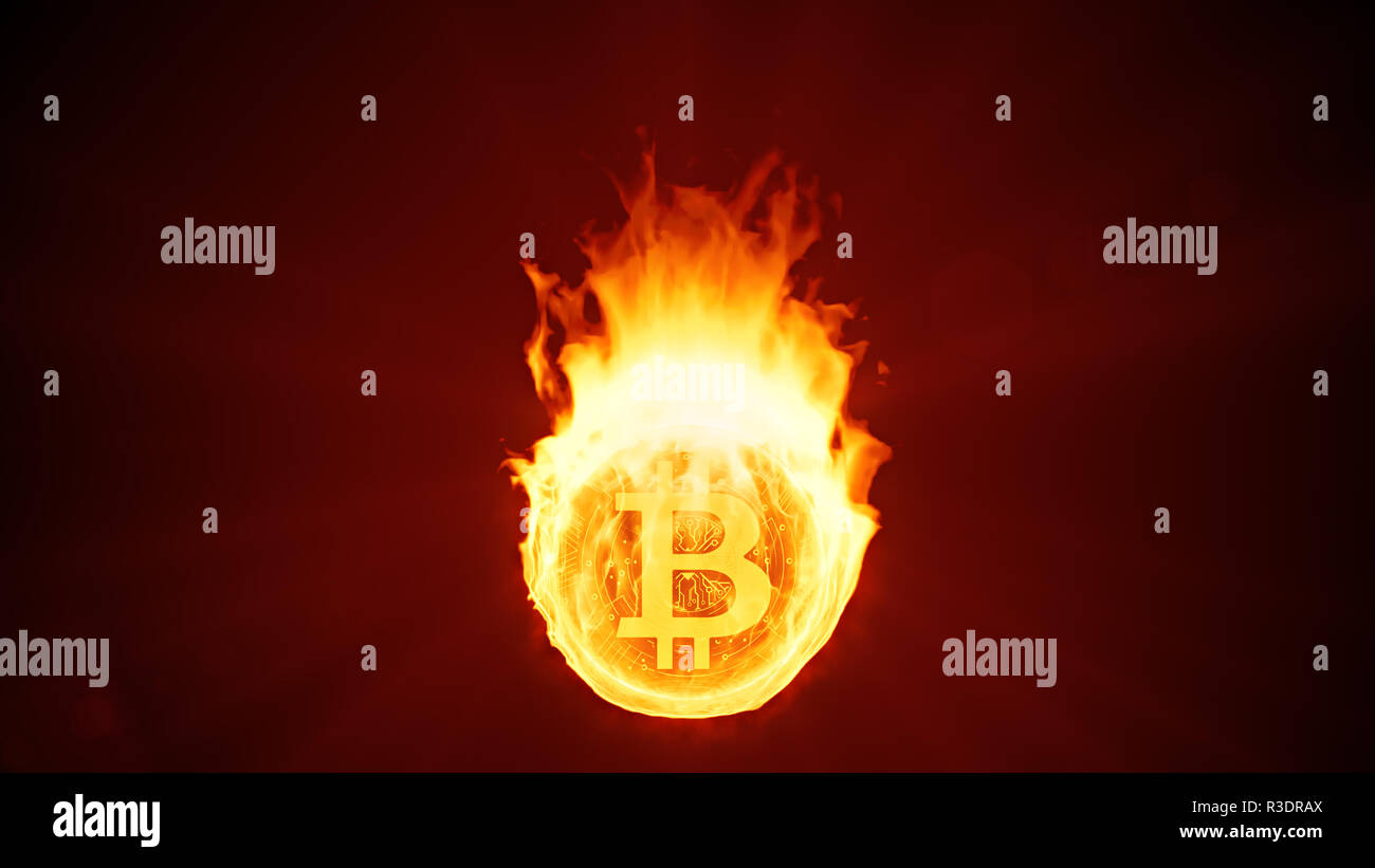 Bitcoin cryptocurrency burning in fire. Gold coin burns down. Red bearish market decline, crash and blockchain bubble. Crypto capitalization in flames - Stock Image