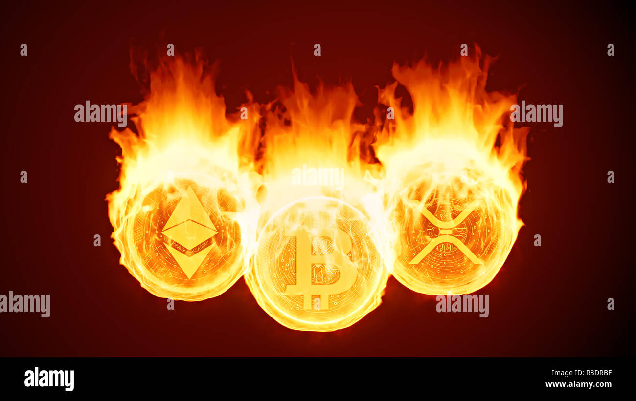 Bitcoin, ethereum and ripple burning in fire. Gold coins burn down. Red market decline, crash and blockchain bubble. Crypto capitalization in flames c - Stock Image
