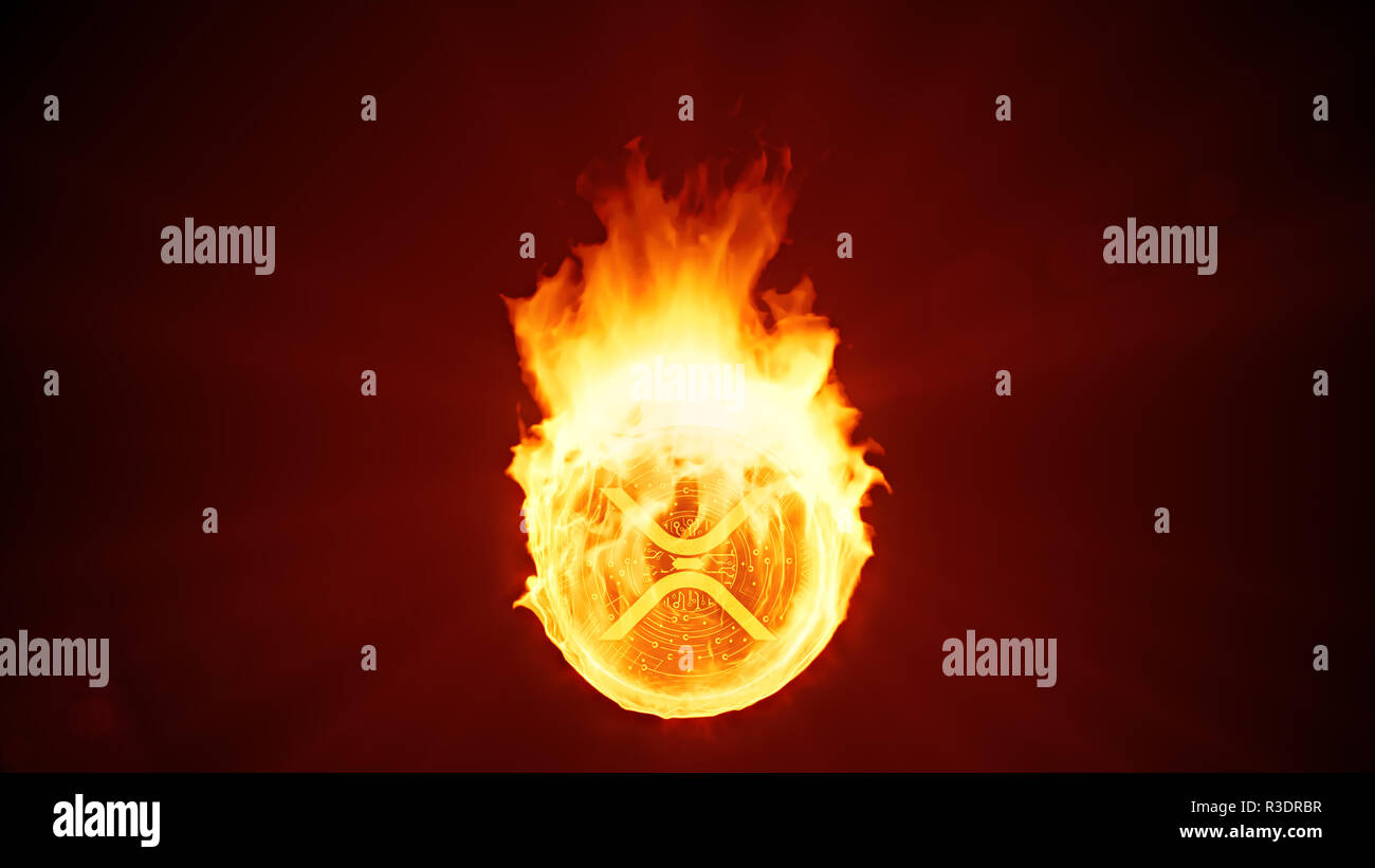 Ripple cryptocurrency burning in fire. Gold coin burns down. Red bearish market decline, crash and blockchain bubble. Crypto capitalization in flames  - Stock Image
