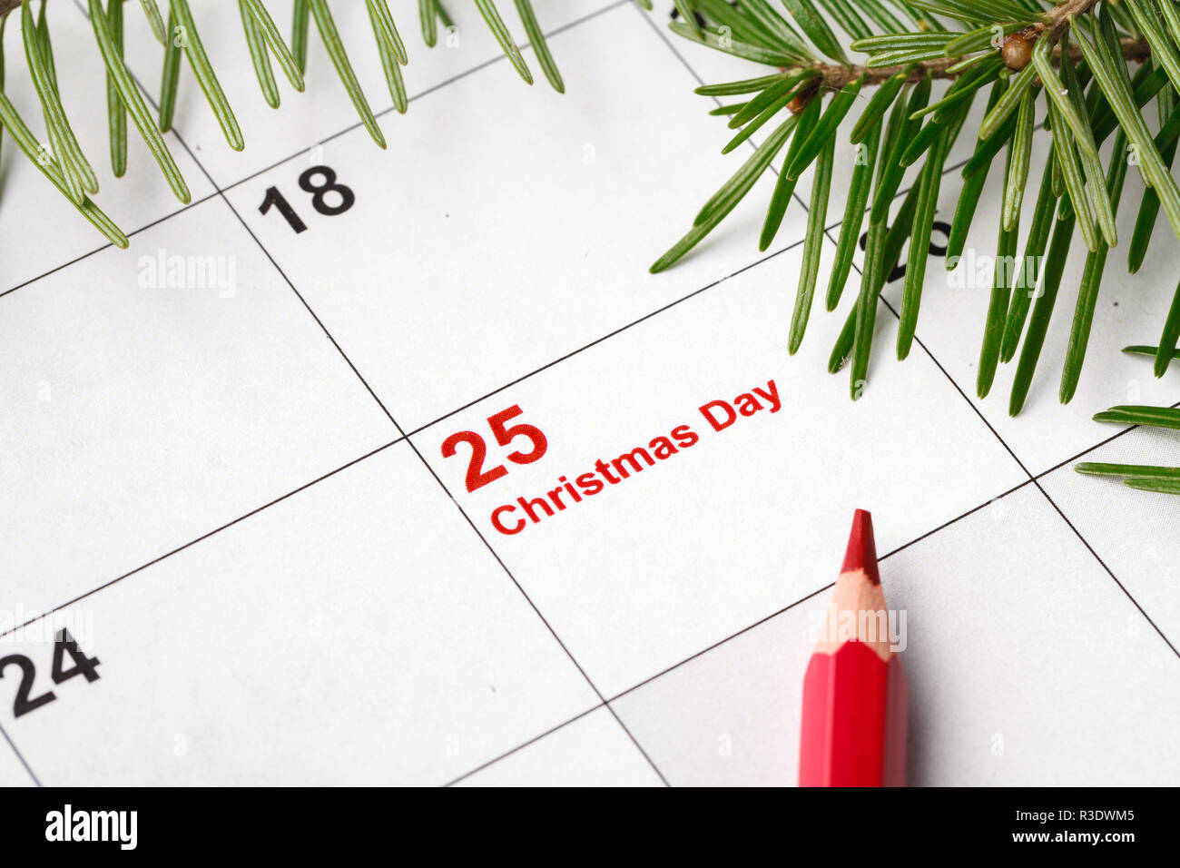 25 date on calendar with red mark save the date christmas holiday