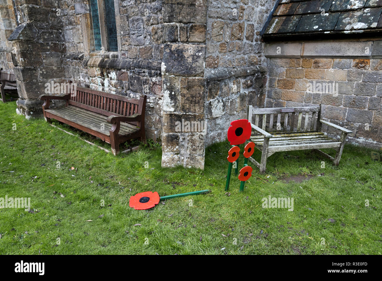 Remembrance Day poppies at St Michael and All Angels Church, Linton, North Yorkshire, UK - Stock Image