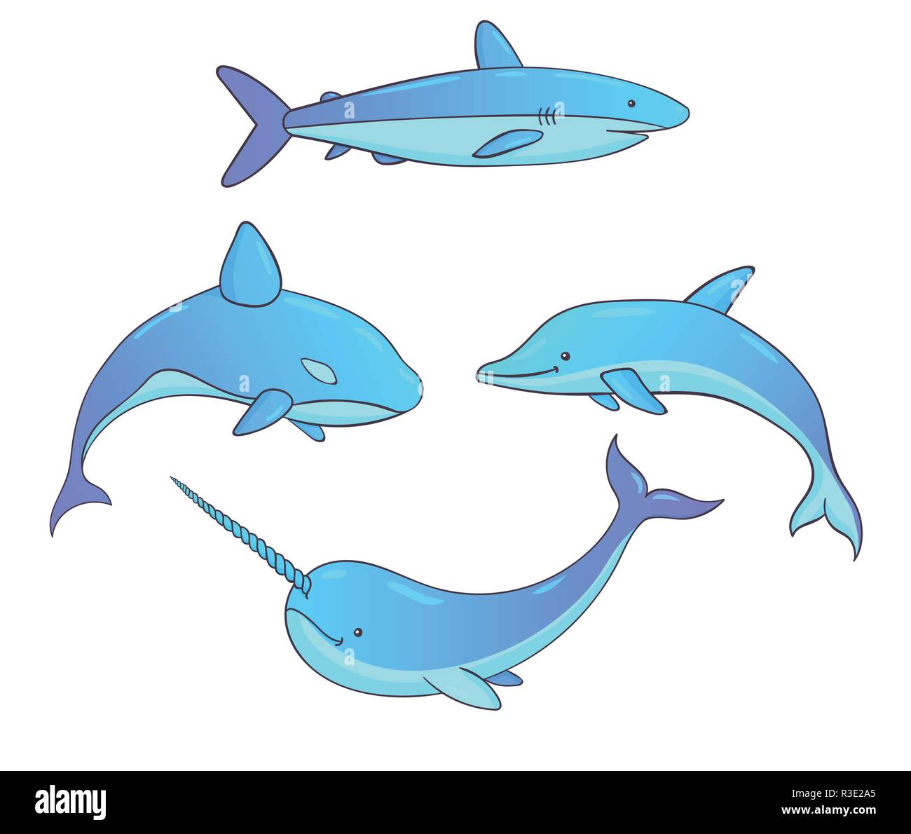 Set of vector underwater creatures with whales, shark, narwhal and dolphin. Marine animals isolated on the white background. - Stock Image