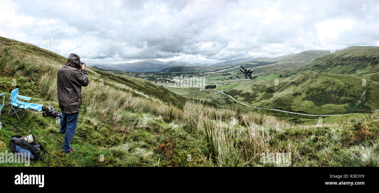 The Mach Loop in Wales - Low altitude training area for Air Force Stock Photo