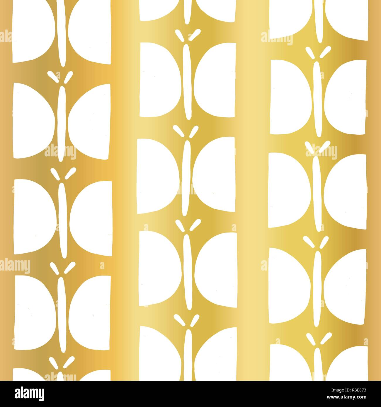 Gold Foil Butterfly Seamless Vector Pattern White Hand Drawn