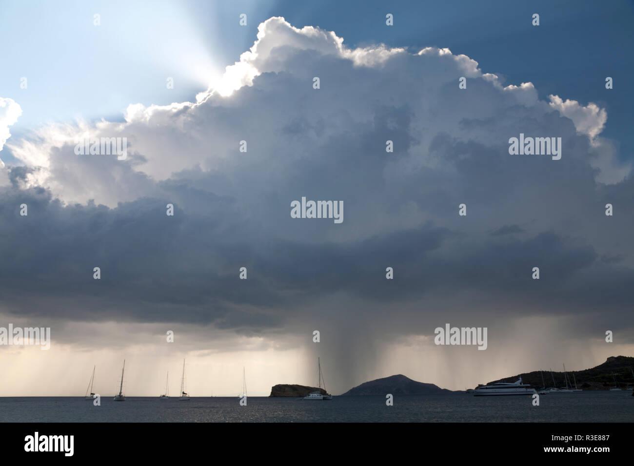 rainstorm over aegean sea sounio attica greece - Stock Image