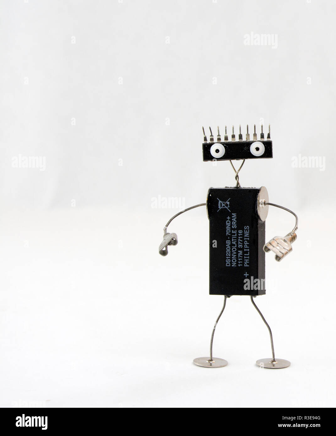 robot character made from computer chips - Stock Image