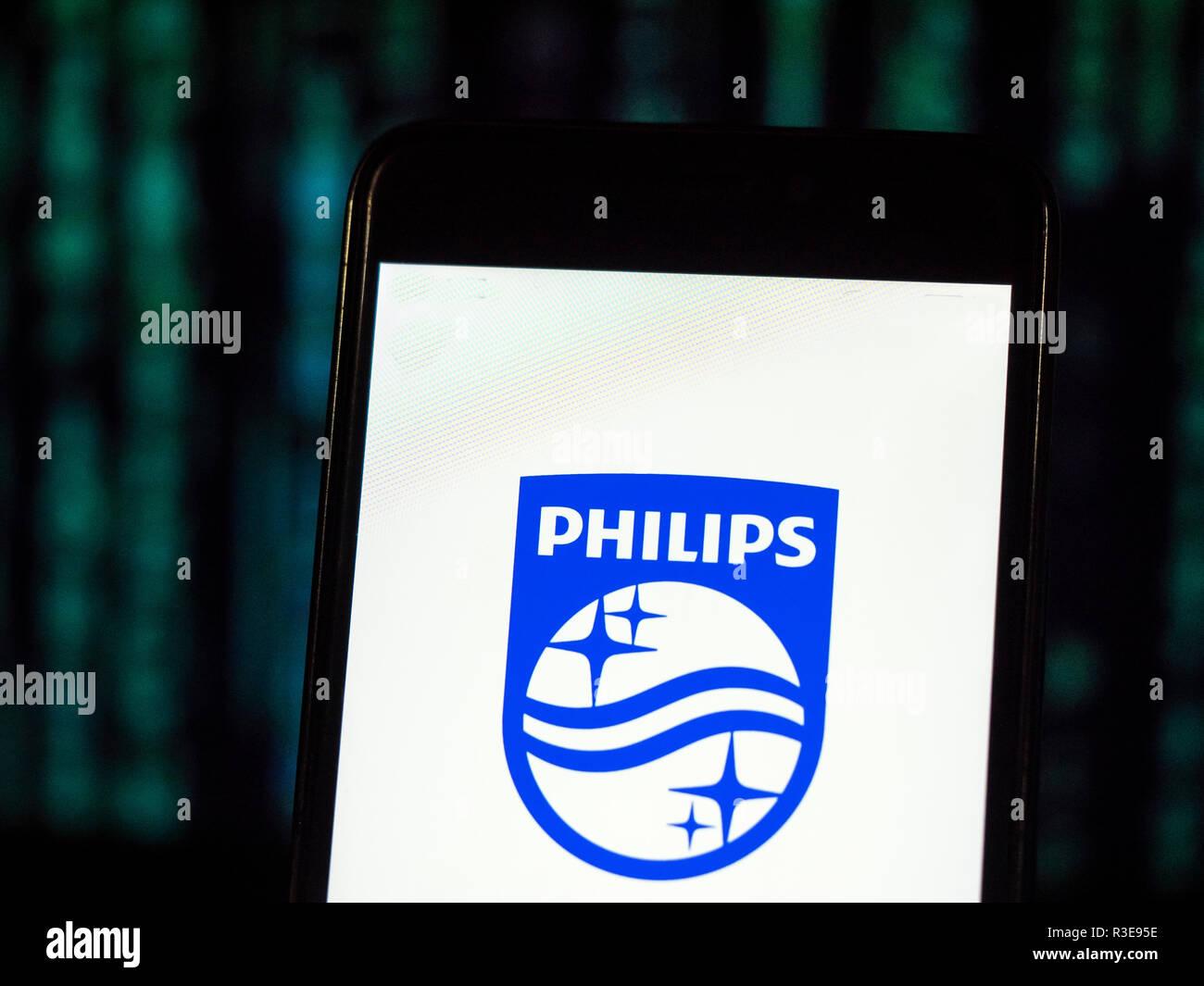 Koninklijke Philips N.V. Multinational conglomerate company  logo seen displayed on smart phone. - Stock Image