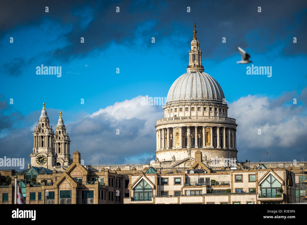 St. Paul's Cathedral, London, England against blue skies on sunny day Stock Photo