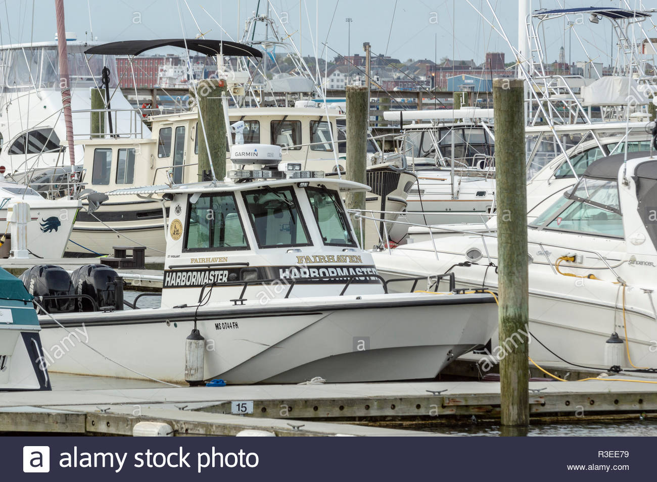 New Bedford, Massachusetts, USA - May 18, 2018: Dense forest of boats moored at Pope's Island in New Bedford - Stock Image