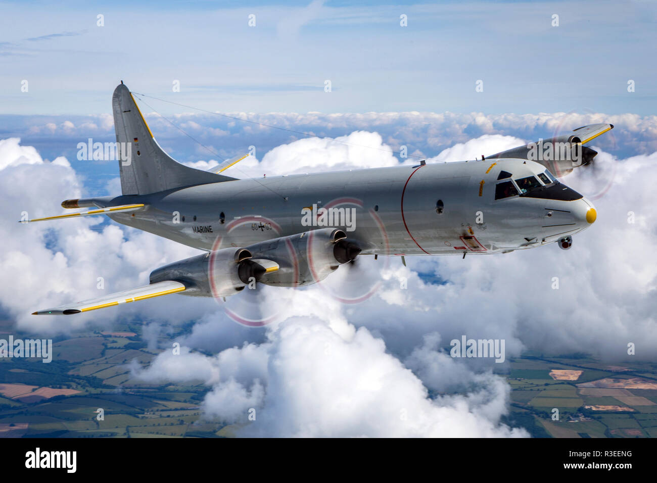 German Navy, Lockheed P-3 Orion, a four-engine turboprop anti-submarine and maritime surveillance aircraft developed for the United States Navy and in - Stock Image