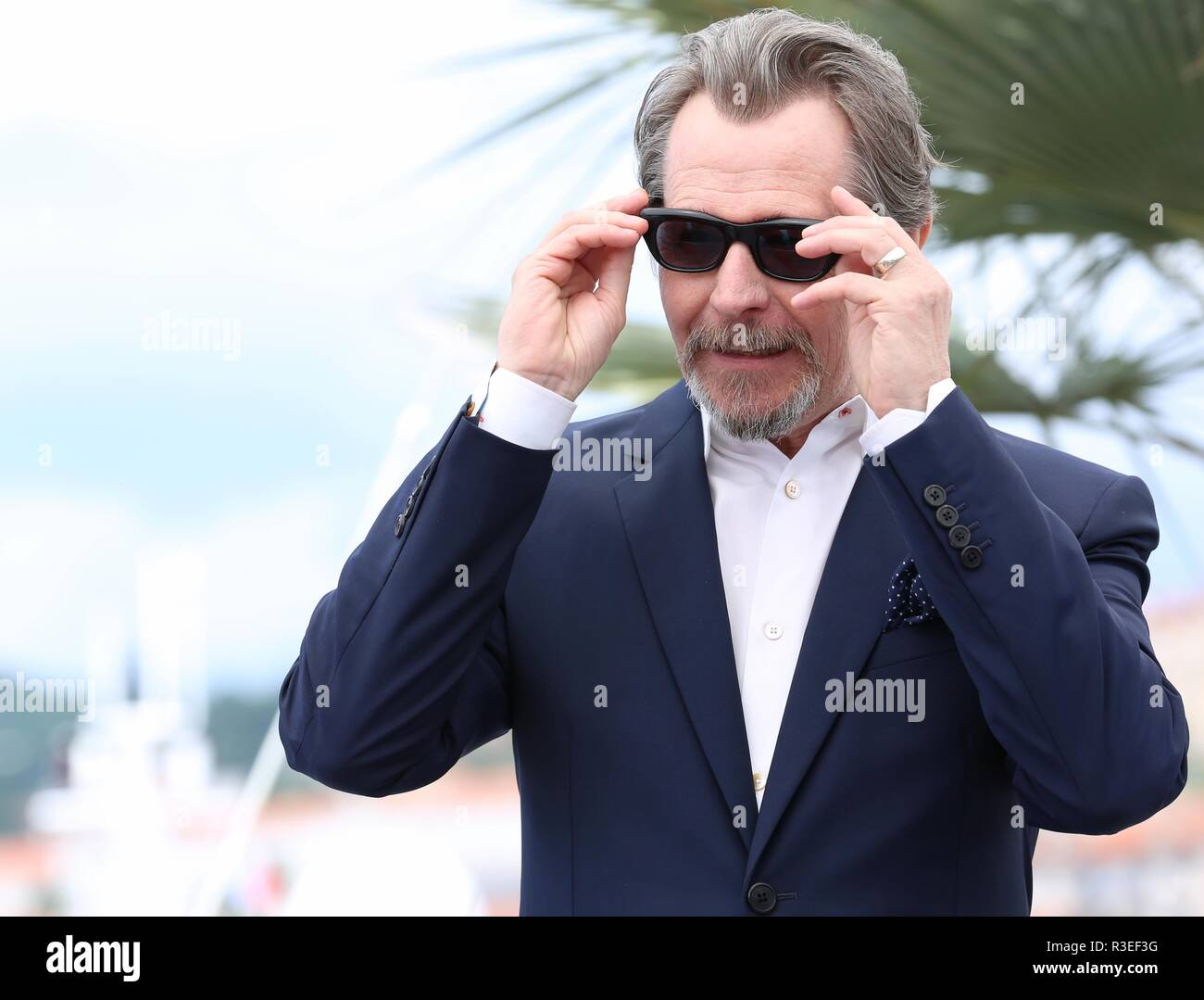 CANNES, FRANCE – MAY 17, 2018: Gary Oldman at the photocall ahead of his Masterclass during the 71st Cannes Film Festival (photo by Mickael Chavet) - Stock Image