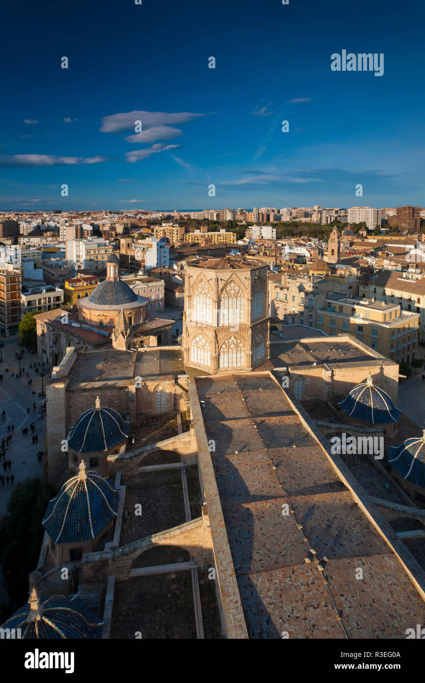 Beautiful sunset view over the roofs of Valencia oldtown from El Miguelete Tower, Spain Stock Photo
