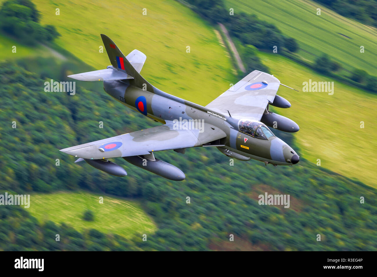 The Hawker Hunter is a transonic British jet-powered fighter aircraft that was developed by Hawker Aircraft for the Royal Air Force (RAF) during the l - Stock Image