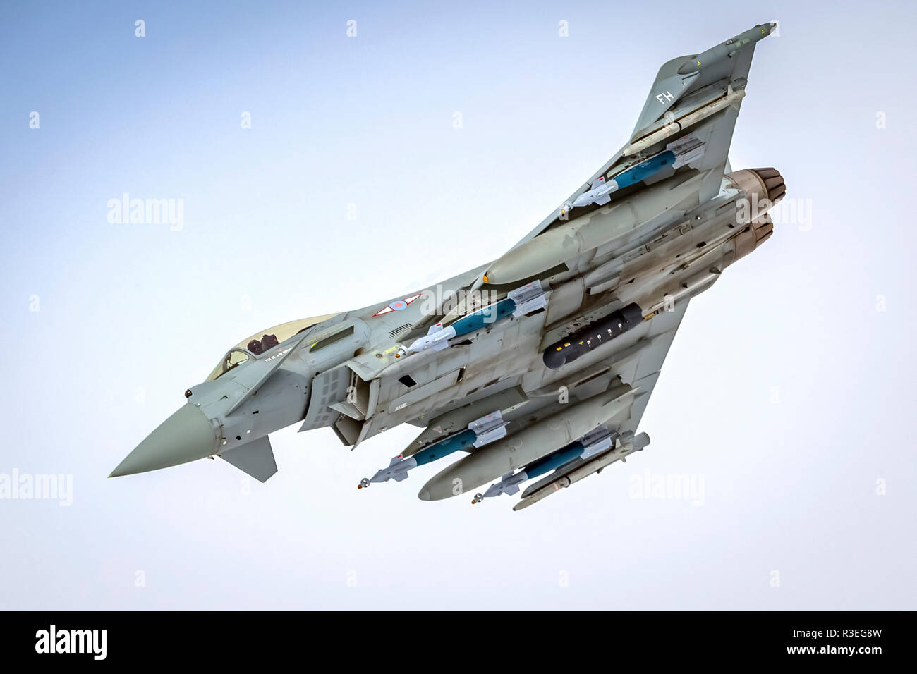 Royal Air force (RAF) Eurofighter Typhoon in flight. A twin-engine, canard-delta wing, multirole fighter. Photographed at Royal International Air Tatt - Stock Image