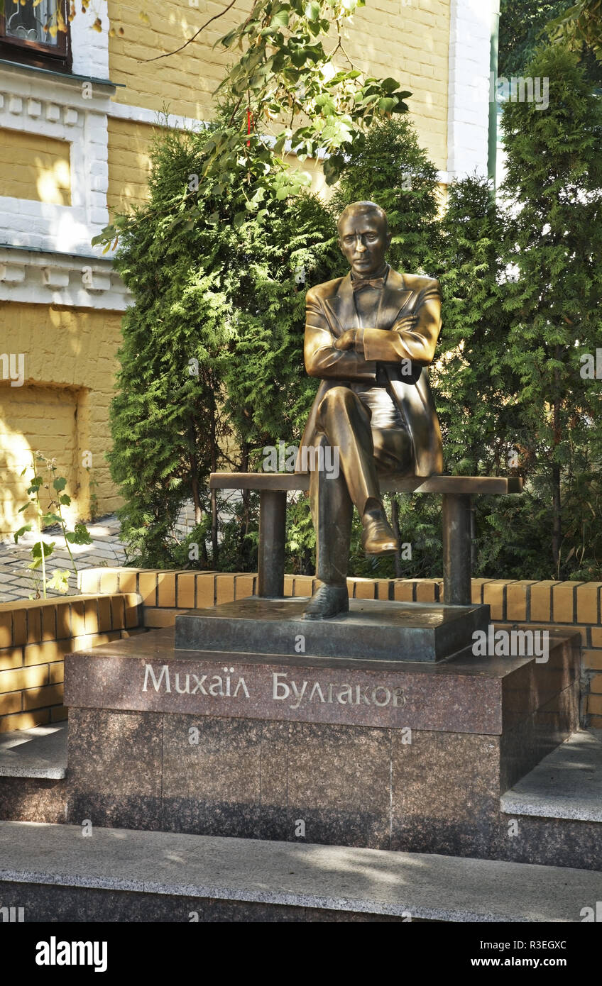 Monument to  Mikhail Bulgakov on Andriyivskyy Descent in Kiev. Ukraine - Stock Image