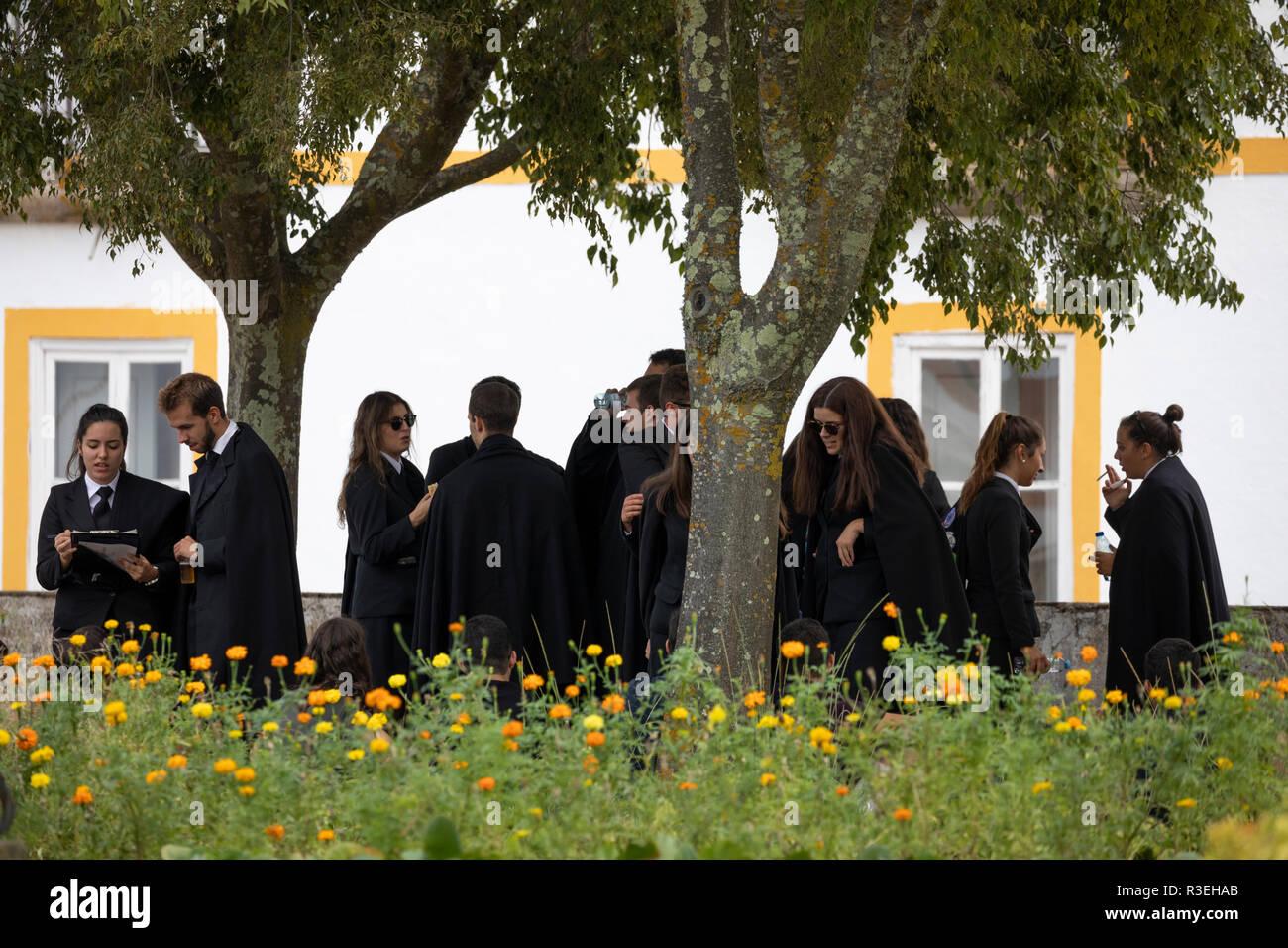 University students socialising in the Jardim Diana, Evora, Alentejo, Portugal, Europe - Stock Image