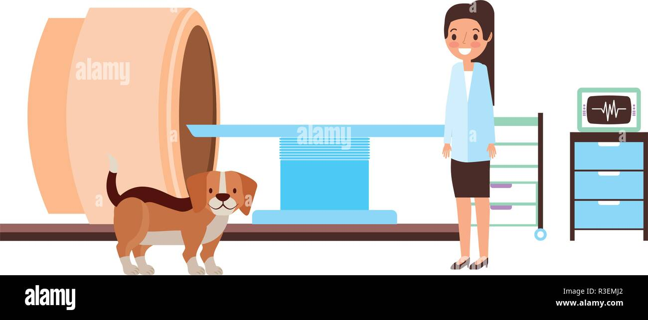 female doctor and dog scanning machine veterinary clinic vector illustration - Stock Vector