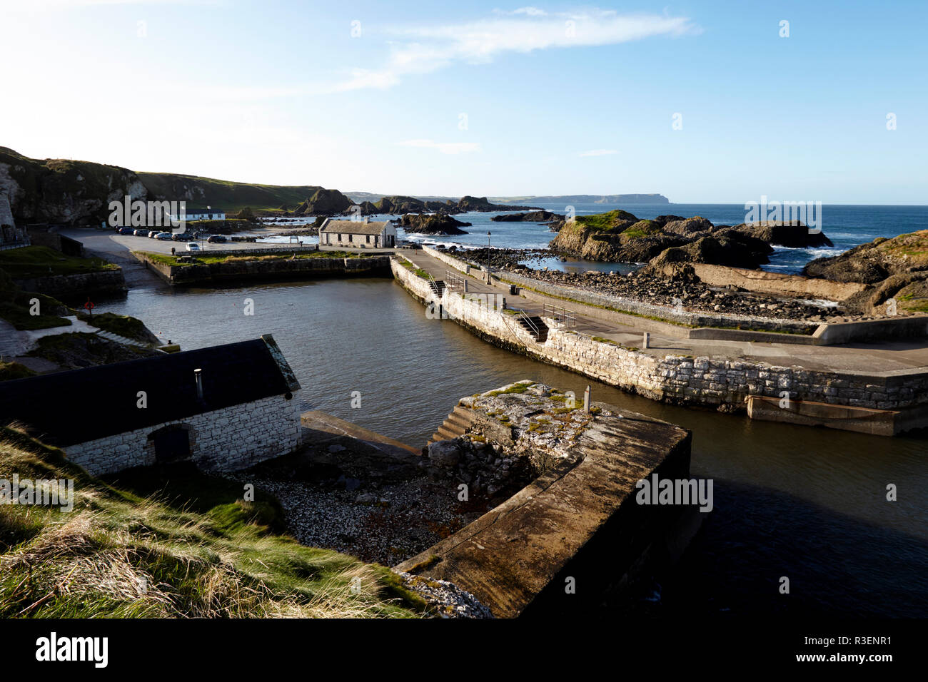 Ballintoy Harbour county antrim northern ireland used in Game of Thrones as the filming location for the Iron Islands - Stock Image