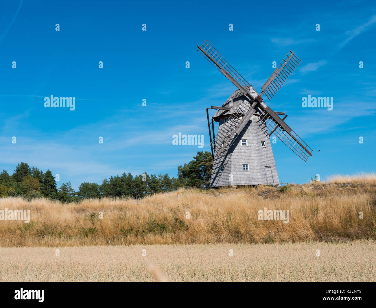 an old Swedish windmill an an autumnal mood - Stock Image