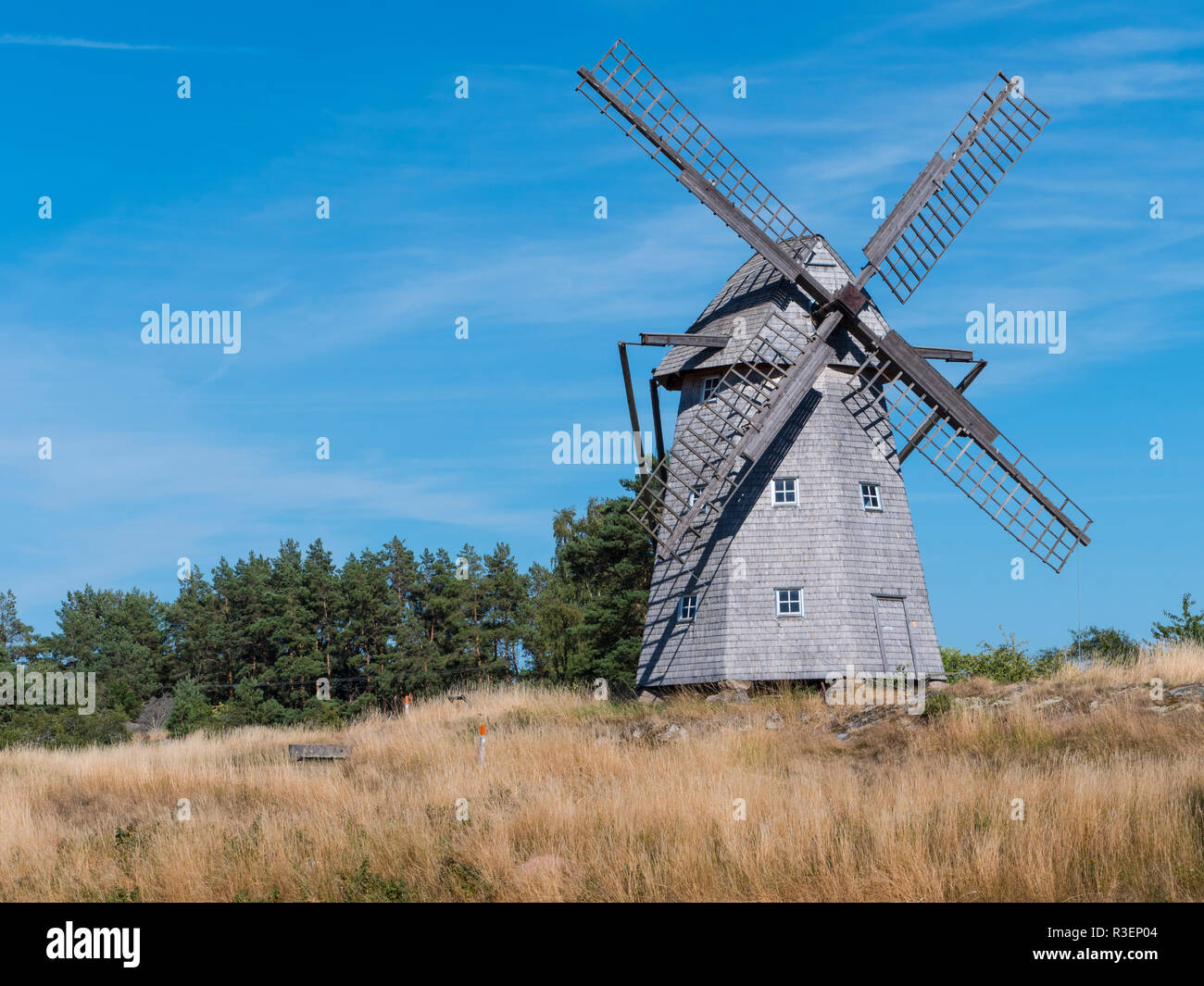 an old Swedish windmill in an autumnal mood - Stock Image