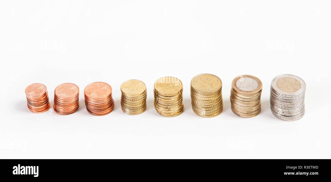 euromuenzen of the page - Stock Image
