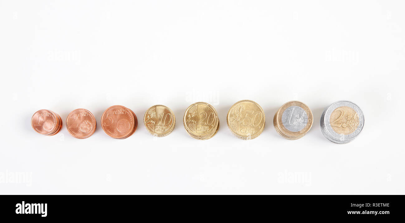 euro coins from top - Stock Image