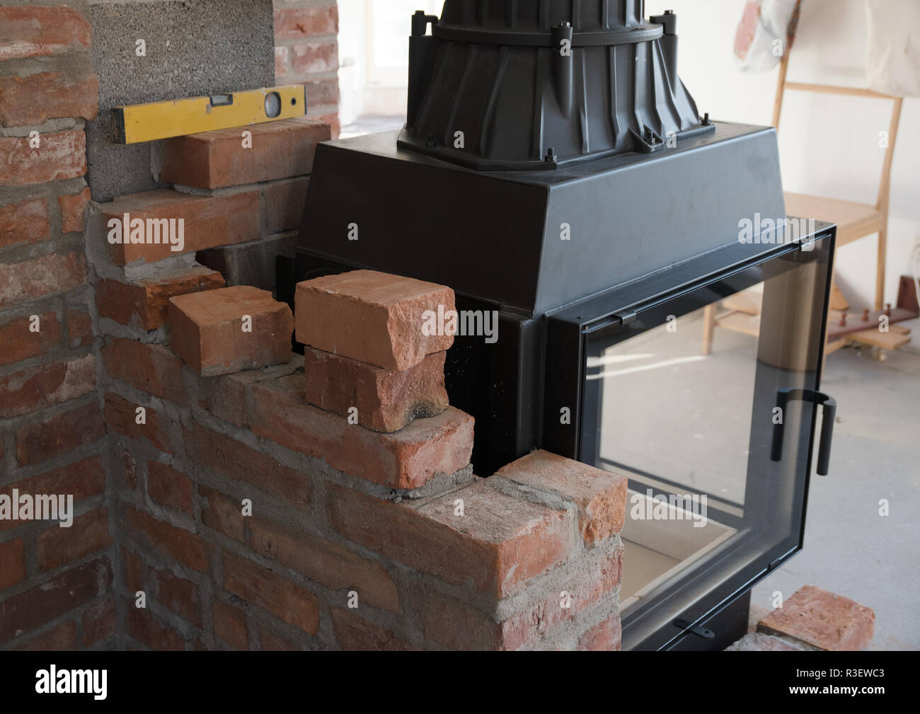 Surprising Brick Wall Border For A Wood Burning Stove Or Fireplace Download Free Architecture Designs Salvmadebymaigaardcom
